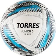 "Мяч футб. ""TORRES Junior-5 Super""арт.F319205, р.5, вес 350-370 г, ПУ,2 сл,16 п, гиб.сш,бел-гол-сер"